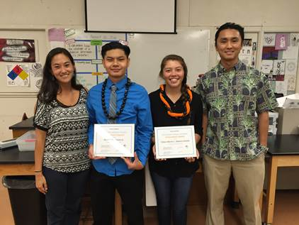 Pictured from left: Wai'anae High School Teach For America teacher Sarah Kern, NAI Scholarship Finalist Russell Kiyono, NAI Scholarship Winner Chloe-Marie Stamm-Calotis, and former Nānākuli High School Teach For America teacher Leo Shimizu.