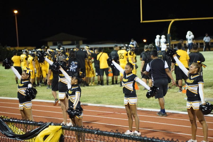 Despite being small in number, the NHIS Cheerleading team continues to raise spirits at games.