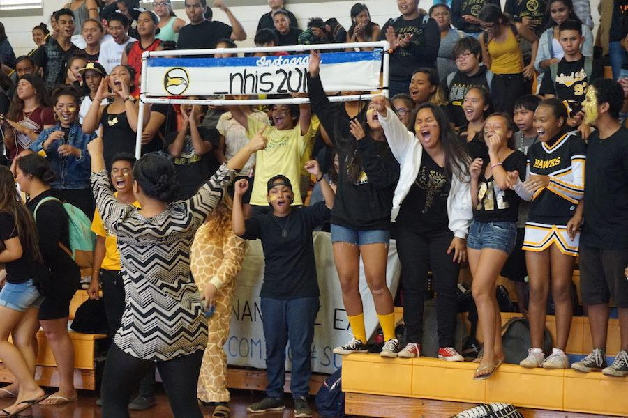 The Class of 2019 show their spirit during the Homecoming Pep Rally.