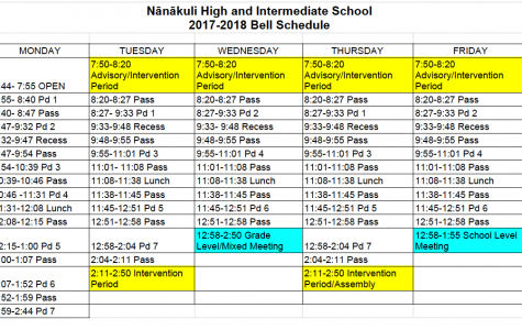 NHIS Bell Schedule for 2017-2018 School Year
