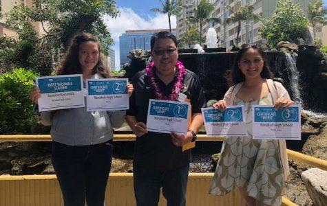 Jasmine Kamanaʻo, Robin Kitsu advisor, and Alysia Kepaa show the awards the Ka Leo ʻO Nānākuli Newspaper received in the State High School Newspaper Awards Luncheon in April.