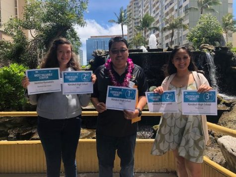 Jasmine Kamanaʻo, Robin Kitsu advisor, and Alysia Kepaa show the awards the Ka Leo ʻO Nānākuli Newspaper received in the State High School Newspaper Awards Luncheon in April.