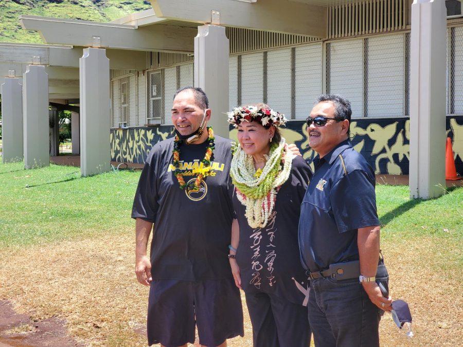 NHIS Principal Darin Pilialoha, Nānākuli-Waianae CAS Ann Mahi, McKinley High School Principal Ron Okamura.